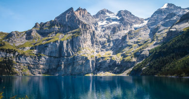 Wandering and Swimming along Lake Oeschinen in Canton Bern